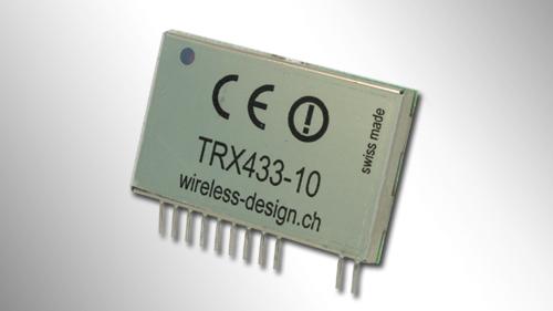 Transceiver-Modul TRX433-10 mit Abschirmblech